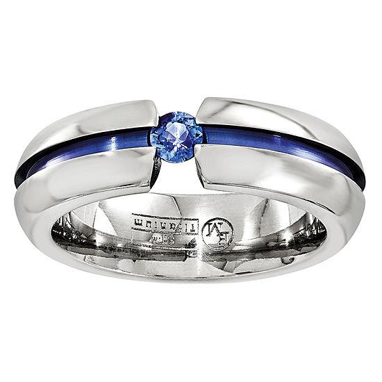 Edward Mirell Mens 6 Mm Genuine Blue Sapphire Titanium Wedding Band
