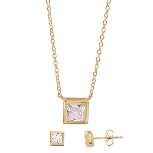 Womens 2-pc. White Cubic Zirconia Gold Over Silver Jewelry Set