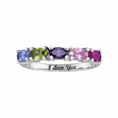 Personalized Simulated Birthstones Engravable Side Stone Ring