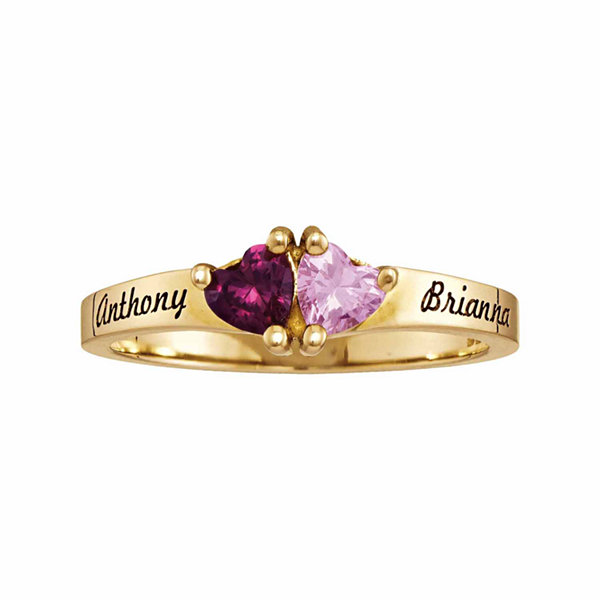Personalized Simulated Birthstones Sweetheart Couples Ring