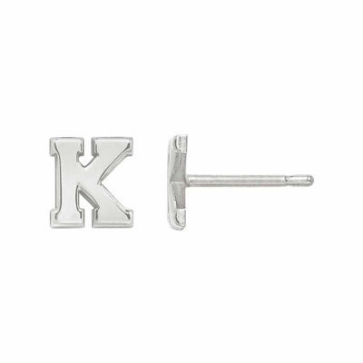 Personalized Polished Initial Stud Earring