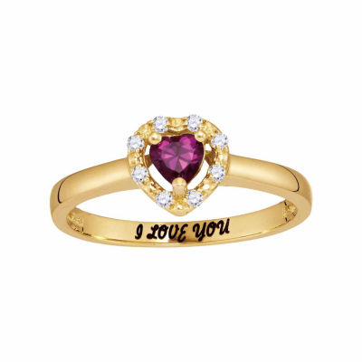 Personalized Simulated Birthstone & Cubic Zirconia Heart Halo Ring