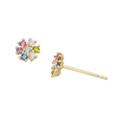 Multi Color Cubic Zirconia 14K Gold 4.7mm Flower Stud Earrings