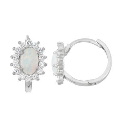 White Opal Sterling Silver Hoop Earrings