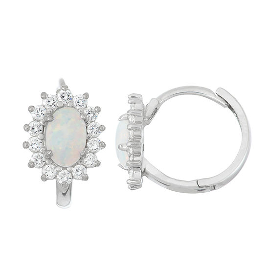 Lab Created White Opal Sterling Silver 12.8mm Hoop Earrings