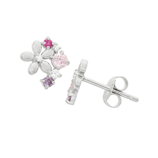 Multi Color Cubic Zirconia Sterling Silver 8.4mm Flower Stud Earrings