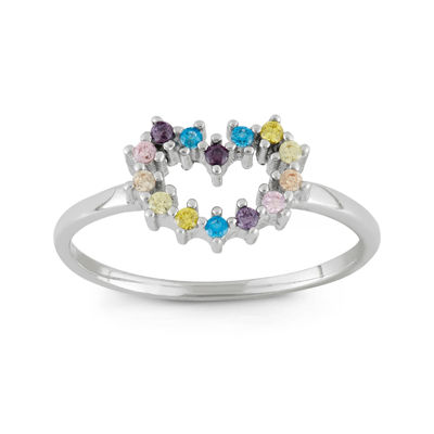 Girls Multi Color Cubic Zirconia Flower Delicate Cocktail Ring