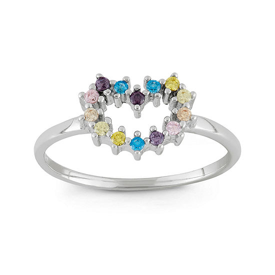 Girls Multi Color Cubic Zirconia Sterling Silver Flower Delicate Cocktail Ring