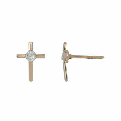 Lab Created Cubic Zirconia 14K Gold Stud Earrings
