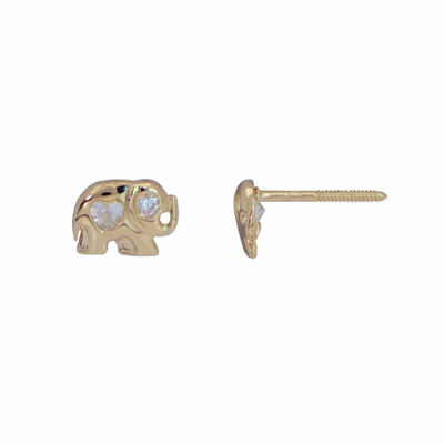 Lab Created White Cubic Zirconia 14K Gold Stud Earrings