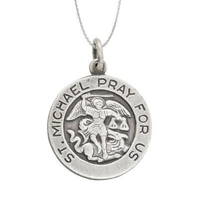 "Sterling Silver 18mm Saint Michael 18"" Pendant Necklace"