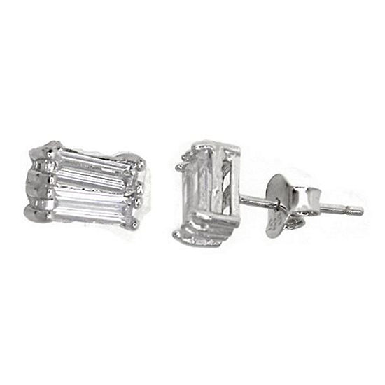 Sterling Silver Rhodium 2x6mm Baguette-Cut Cubic Zirconia Stud Earring