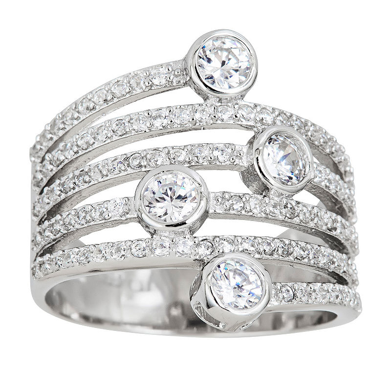 image of Sterling Silver Vertical Bezel Fashion Ring-ppr5007138396