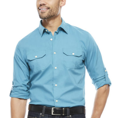 Claiborne Slim Fit Roll Sleeve Button Front Shirt
