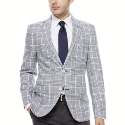 The Savile Row Company Navy White Plaid Sport Coat-Slim Fit