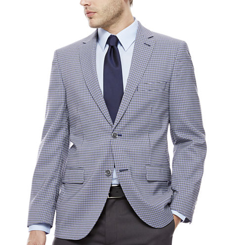 The Savile Row Company Blue Grey Check Sport Coat-Slim Fit