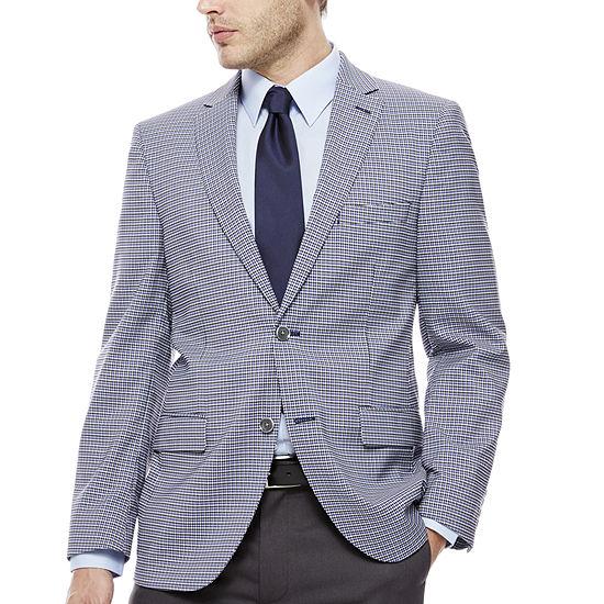 The Savile Row Company Blue Grey Check Sport Coat Slim Fit
