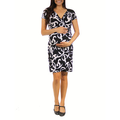 24/7 Comfort Apparel Wrap Dress-Plus Maternity