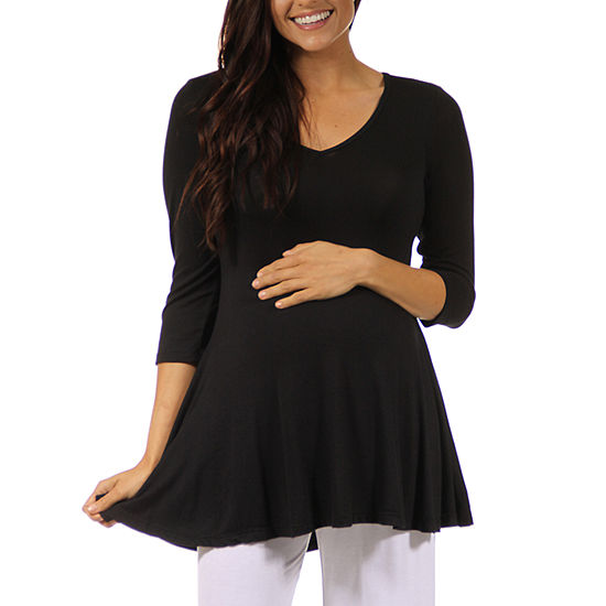 24/7 Comfort Apparel-Plus Maternity Womens Knit Blouse