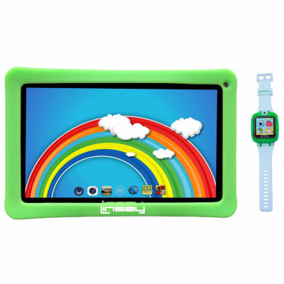 """LINSAY® Kids Bundle with Green Kids Smartest Watch on Earth with Camera and 10.1"""" Quad Core 1024x600 HD Kids Tablet with Green Kids Defender Case"""