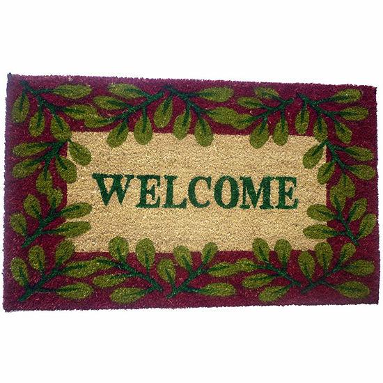 """PVC Welcome Leaves Rectangular Doormat - 18""""X30"""""""