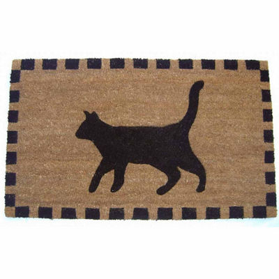 "Black Cat Rectangular Doormat - 18""X30"""