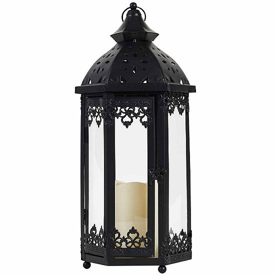 "Elements® 15"" Black Metal Lace LED Lantern"