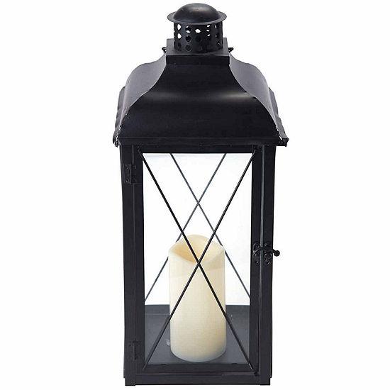 "Elements® 19"" Black Metal LED Lantern"