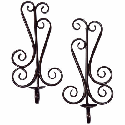 Scrolled Metal Candle Sconce- Set of 2