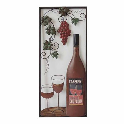 Wine with 2 Glasses Left Wall Decor