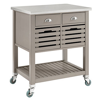 Robbin Stainless Steel Top Kitchen Cart Color Gray Jcpenney