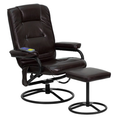 Massaging Leather Recliner and Ottoman with MetalBases