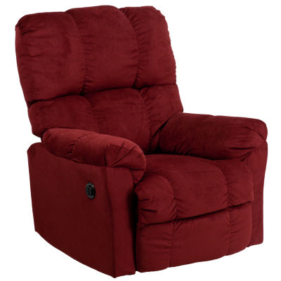 Contemporary Top Hat Microfiber Power Recliner with Push Button
