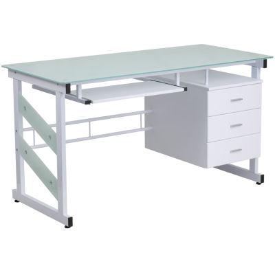 Computer Desk with Three Drawer Pedestal