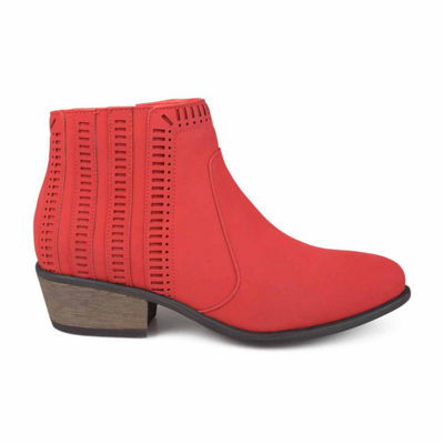 Journee Collection Womens Noni Bootie Block Heel Zip