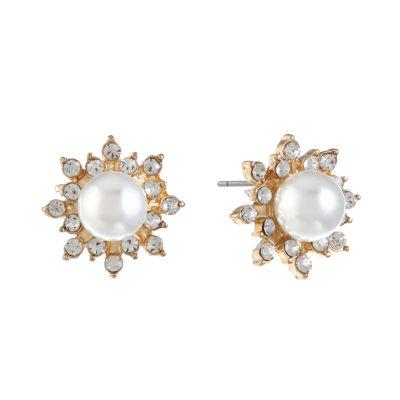 Monet Jewelry White 17mm Stud Earrings