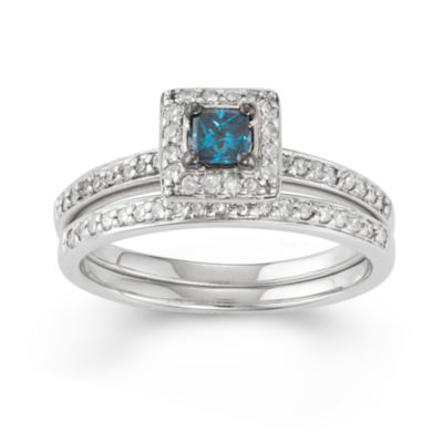 Womens 1/2 CT. T.W. Blue Diamond 10K Gold Square Bridal Set