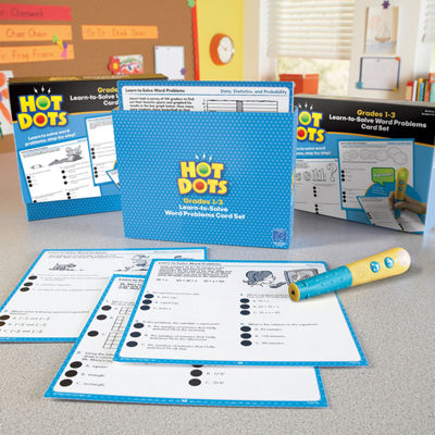 Educational Insights Hot Dots® Learn-to-Solve Word Problems Card Set — Grades 1-3