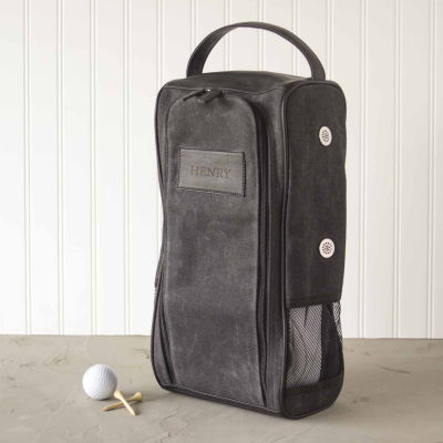 Personalized Wax Canvas Golf Shoe Bag