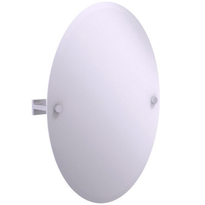 Allied Brass Montero Collection Contemporary Frameless Oval Tilt Mirror with Beveled Edge