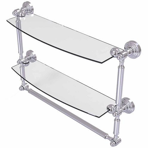 Allied Brass Waverly Place Collection 18 IN Two Tiered Glass Shelf With Integrated Towel Bar