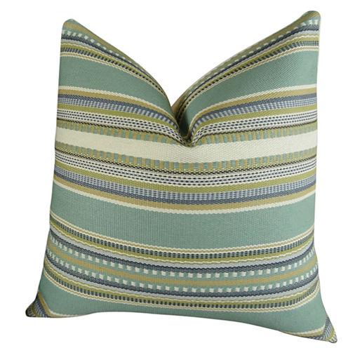 Plutus Chic Stripe Aloe Handmade Throw Pillow