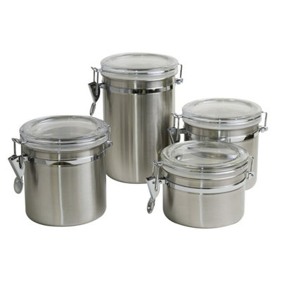 4 Piece Round Stainless Steel Canister Set With Flip Lock Sealing Lids