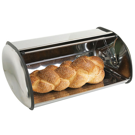 Home Basics Sleek Roll Top Stainless Steel Kitchen Bread Box Storage