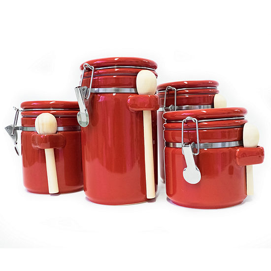 4 Piece Round Ceramic Canister Set With Flip Lock Seal Lids & Wood Spoons
