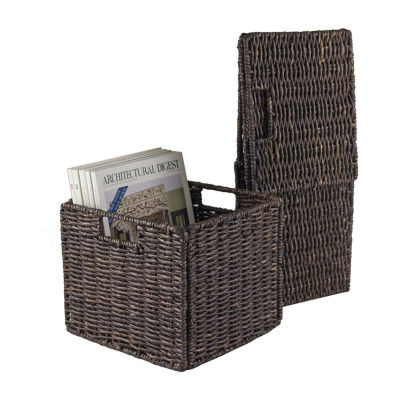 Granville Foldable 2-pc Small Corn Husk Baskets Chocolate