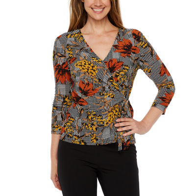 Black Label by Evan-Picone 3/4 Sleeve V Neck Side Tie Blouse