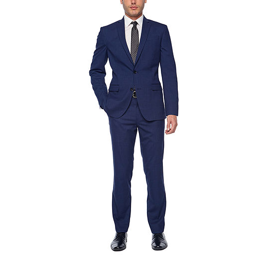 JF J. Ferrar Bright Blue Plaid Super Slim Fit Stretch Suit Separates