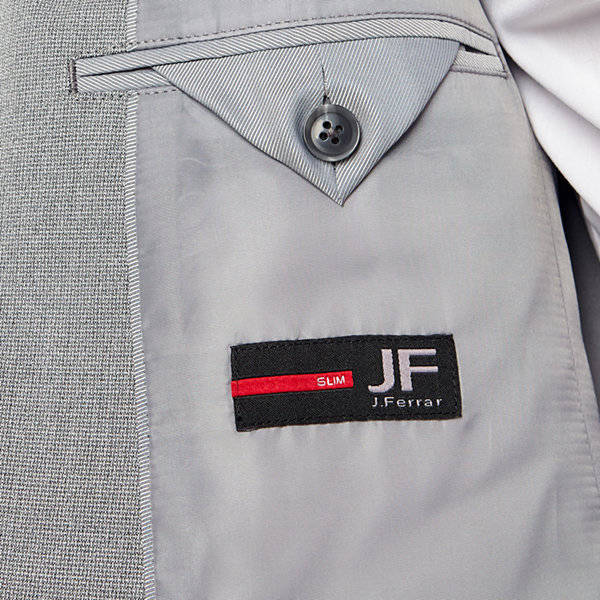 JF J.Ferrar Light Gray Texture Super Slim Fit Stretch Suit Jacket