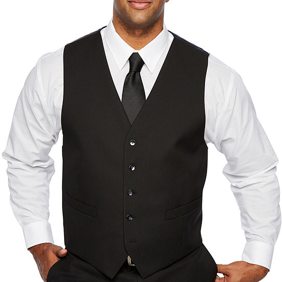 Shaquille O'Neal XLG Black Mens Stretch Classic Fit Suit Vest - Big and Tall